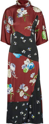 Acne Studios Dilona Paneled Printed Satin Midi Dress - Burgundy