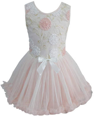 Popatu Little Girls Elegant Flower Peach Ruffle Dress