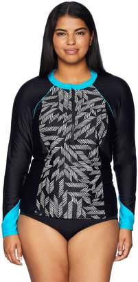Coastal Blue Women's Plus Size Deanna Zipper Rash Guard