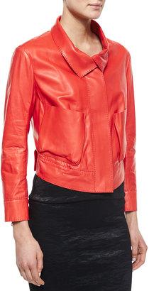 Donna Karan Lamb Leather Bracelet-Sleeve Jacket $1,293 thestylecure.com
