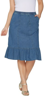 Denim & Co. Stretch Denim Pull-on Skirt with Ruffle Hem