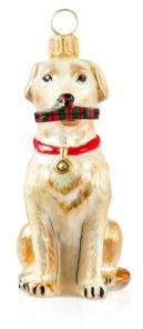 Joy to the World Yellow Lab with Tartan Plaid Slipper Ornament
