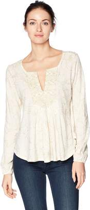 Lucky Brand Women's Foil Printed Top