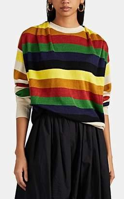 J.W.Anderson Women's Gathered-Back Block-Striped Linen Sweater