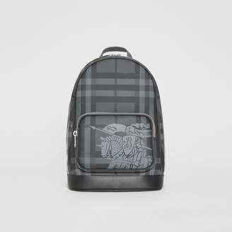 Burberry EKD London Check and Leather Backpack, Grey