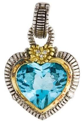 Judith Ripka Blue Topaz & Diamond Heart Pendant