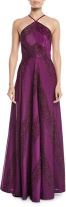 Zac Posen Renata Glitter Chevron A-Line Halter Dress
