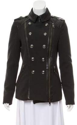 Burberry Leather-Trimmed Double-Breasted Coat