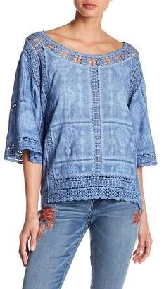 Democracy Kimono Sleeve Crochet Lace Blouse