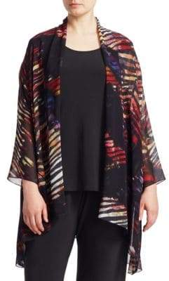 Caroline Rose Graphic Print Cardigan