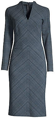 Piazza Sempione Women's Plaid V-Neck Sheath Dress