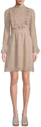 Anna Sui Cupid's Clouds & Scallop Lace Mini Dress