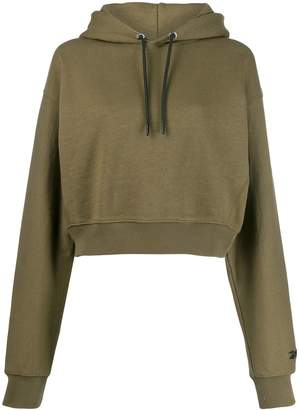 Reebok x Victoria Beckham cropped embroidered logo hoodie