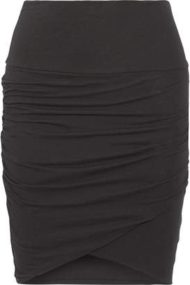 James Perse - Ruched Stretch-cotton Jersey Mini Skirt - Black $165 thestylecure.com