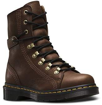 Dr. Martens Women's Coraline in Dark Brown Gizzly Leather Combat Boot