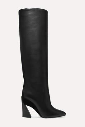 Salvatore Ferragamo Antea Suede-trimmed Textured-leather Knee Boots - Black