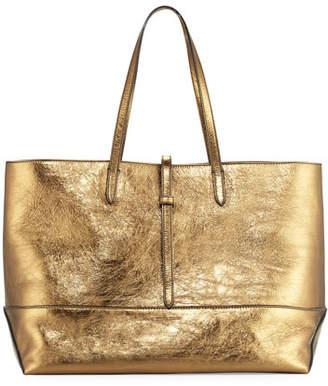 Tomas Maier Aged Metallic Leather Tote Bag, Brown/Multi