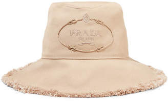 Prada Frayed Embroidered Cotton-canvas Bucket Hat - Beige