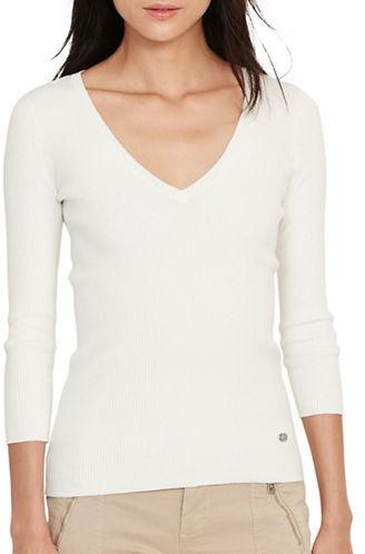 Lauren Ralph LaurenLauren Ralph Lauren Farara Rib-Knit V-Neck Cotton-Blend Sweater