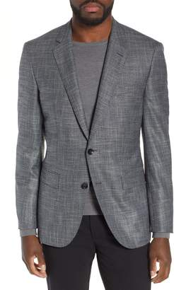 BOSS T-Heel Trim Fit Plaid Wool Blend Sport Coat