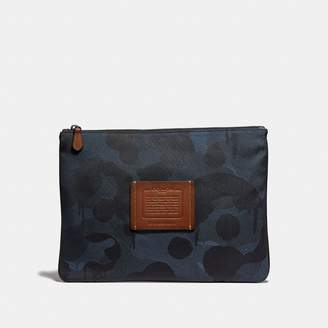 Coach Large Multifunctional Pouch In Cordura Fabric With Wild Beast Print