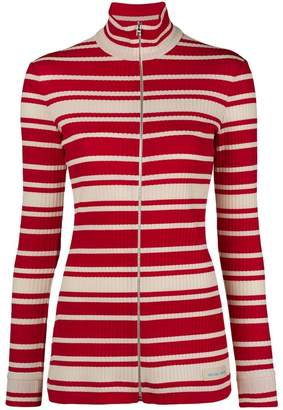 Prada striped rib knit turtleneck cardigan