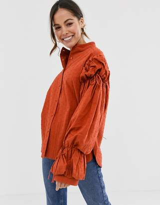 GHOSPELL oversized puff sleeve blouse