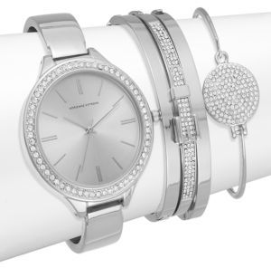 Glitz Silvertone Bracelet Watch Set $125 thestylecure.com