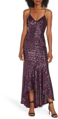 Vince Camuto High/Low Sequin Gown