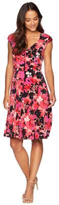 London Times Printed Matte Jersey Fit Flare Women's Dress