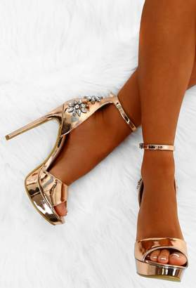4afeda3d247e7d Pink Boutique Fame Game Rose Gold Metallic Embellished Platform Heels
