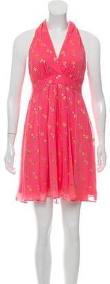 Nicole Miller Metallic-Accented Silk Dress
