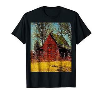 Rustic Western Country Farm Red Barn Farmer T Shirt