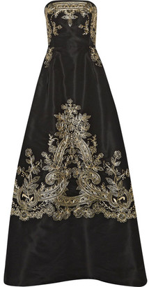 Oscar de la Renta - Embroidered Silk-faille Strapless Gown - Black $10,990 thestylecure.com