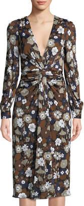 Michael Kors Plunging Floral-Print Satin Jersey Dress