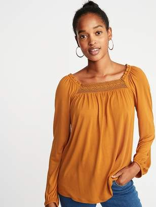 Old Navy Ruffled Lace-Yoke Square-Neck Blouse for Women