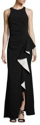 Carmen Marc Valvo Sleeveless Ruffled Gown