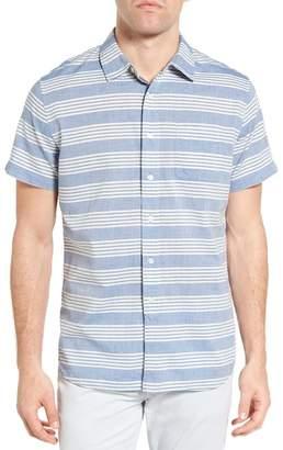 Grayers Sheffield Trim Fit Stripe Chambray Sport Shirt