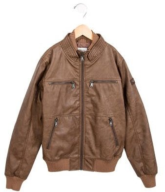 Armani JuniorArmani Junior Boys' Vegan Leather Bomber Jacket