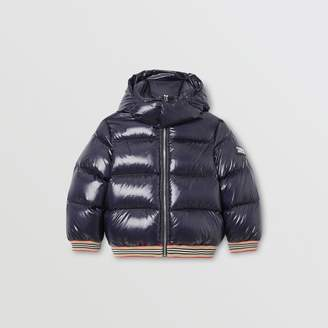 Burberry Icon Stripe Detail Down-filled Hooded Puffer Jacket