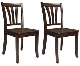 CorLiving Dillon Cappuccino Stained Solid Wood Dining Chairs with Curved Vertical Slat Design, Set of 2