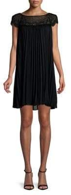 Plus Lace-Yoke Pleated Shift Dress