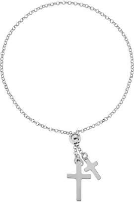 Silver Cross Italian Adjustable Bracelet Sterling