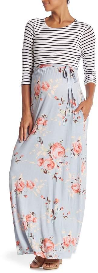 PinkBlush Maternity Striped Colorblock Floral Maxi Dress (Maternity)