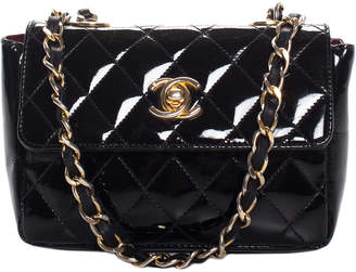 Chanel Black Quilted Patent Leather Mini Flap Bag
