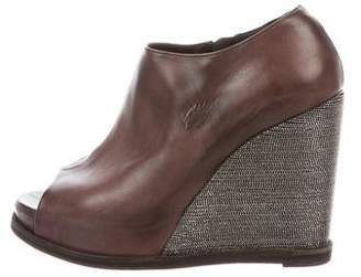 Brunello Cucinelli Monili Peep-Toe Wedges