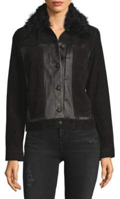 Derek Lam Toby Shearling-Collar Leather & Suede Jacket