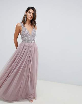 Asos DESIGN maxi dress in tulle with embellished bodice