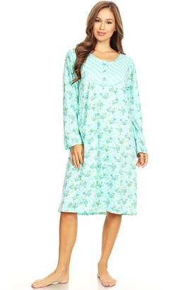 Lati Fashion 6010 Womens Nightgown Sleepwear Pajamas Woman Long Sleeve  Sleep Dress Nightshirt M c9c1a4bfa