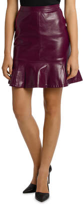Miss Shop Patent Peplum Pu Skirt - Burgundy